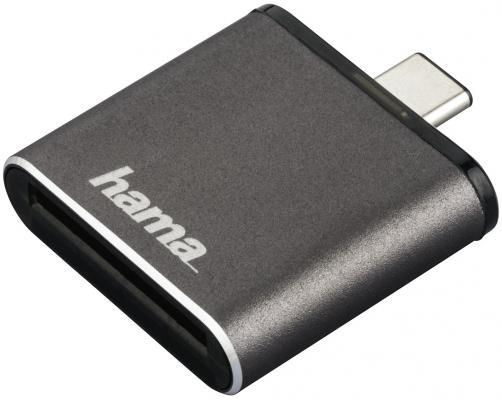 Картридер внешний Hama H-124186 USB3.1 серый 00124186 мышь hama h 53879 roma лазерная беспроводная usb черный [00053879]