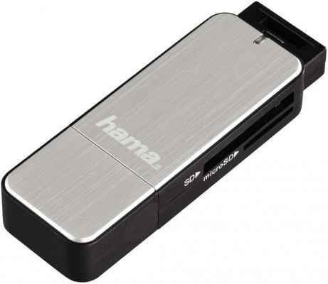 Картридер внешний Hama H-123900 USB3.0 серебристый 00123900