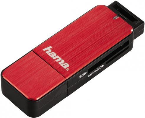 Картридер внешний Hama H-123900 USB3.0 красный 00123902 картридер внешний hama h 91092 usb2 0 прозрачный 00091092