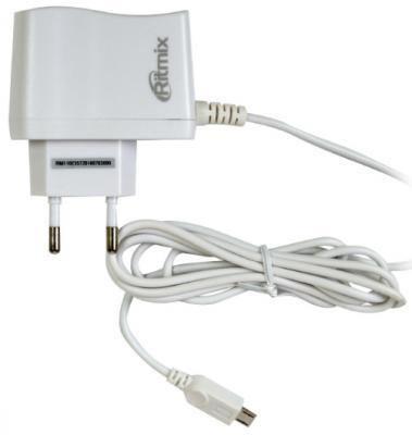 Сетевое зарядное устройство Ritmix RM-110 microUSB 1A белый ritmix rm 118 сетевое зарядное устройство