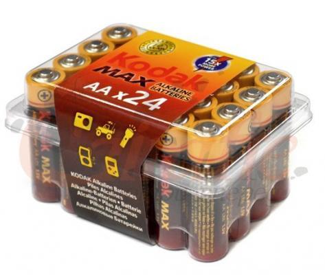 Батарейки KODAK Max LR6-24 24 AA PVC 24/480/19200 LR6 24 шт батарейки aa lr6 40шт трофи щелочные lr6 40 bulk eco