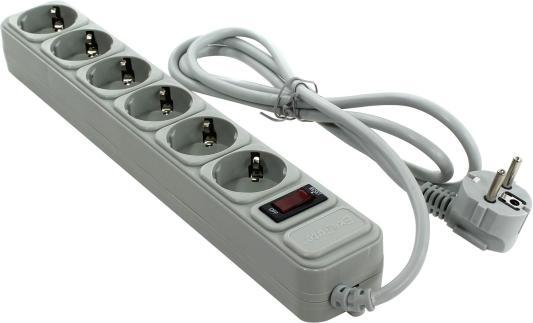 Сетевой фильтр Exegate SP-6-1.8G серый 6 розеток 1.8 м EX119388RUS