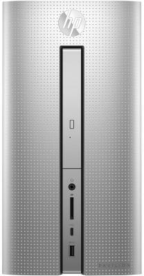 Системный блок HP Pavilion 570 570-p056ur i5-7400 3.0GHz 8Gb 1Tb RX460-2Gb DVD-RW Win10 клавиатура мышь серебристый 1ZN06EA