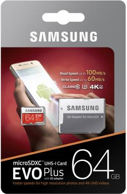 Карта памяти Micro SDXC 64Gb Class 10 Samsung EVO Plus V2 MB-MC64GA + SD adapter карта памяти other samsung evo 10 32 64 sd sdhc oem