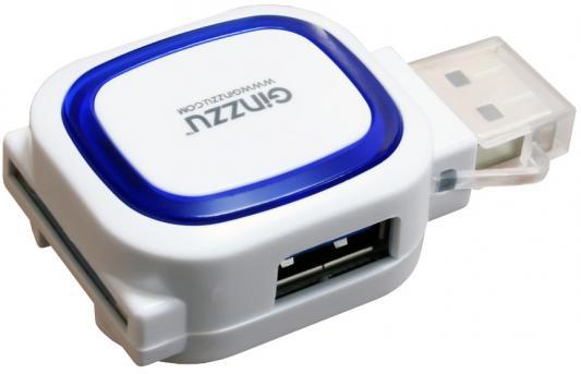 Картридер внешний Ginzzu GR-514UB USB2.0 + HUB бело-синий цена и фото