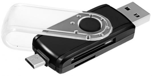 Картридер внешний Ginzzu GR-589UB USB 3.0/OTG microUSB черный цена и фото