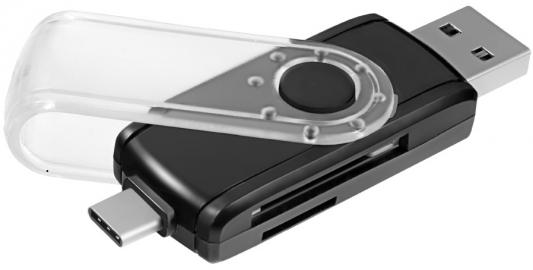 Картридер внешний Ginzzu GR-588UB USB 3.0/OTG Type C черный цена и фото