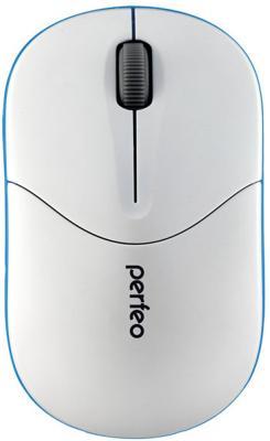 Мышь беспроводная Perfeo PF-533-WOP белый синий USB + радиоканал радиоприемник perfeo егерь fm синий i120 bl