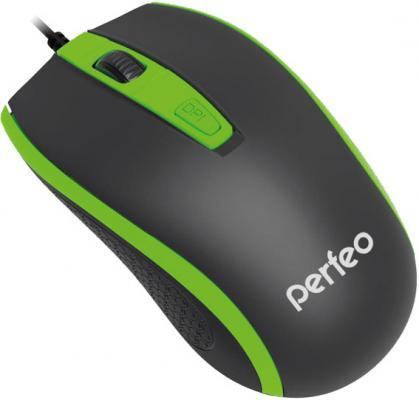"""все цены на  Мышь проводная Perfeo """"Profil"""" чёрный зелёный USB PF-383-OP-B/GN  онлайн"""