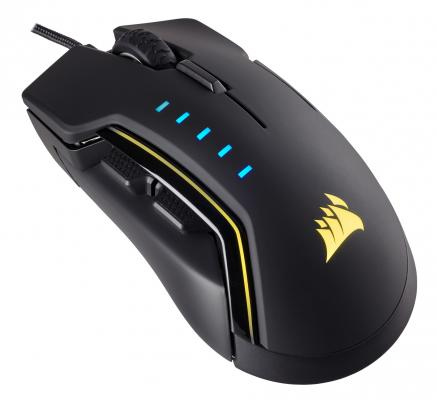 Мышь проводная Corsair Gaming GLAIVE RGB чёрный USB CH-9302011-EU цена и фото