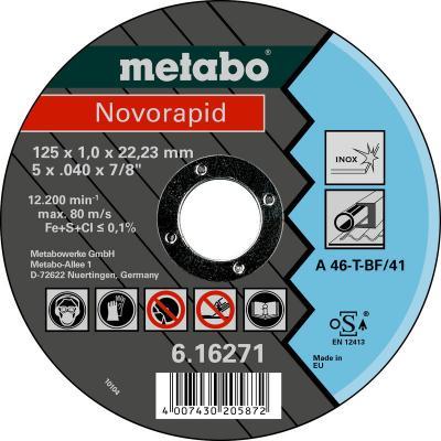 Отрезной круг Metabo Novorapid 125x1мм A46T Inox 616271000 отрезной круг metabo sp novorapid 125x1x22 23мм 617126000