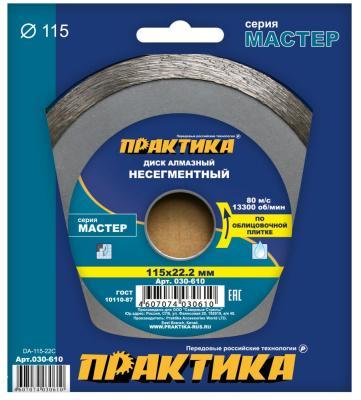 Алмазный диск Практика Мастер несегментный 115х22 030-610