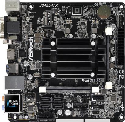 Мат. плата для ПК ASRock J3455-ITX с процессором Intel 2xSO-DIMM DDR3 1xPCI-E 1x 4xSATAIII mini-ITX Retail