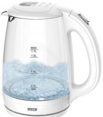 Чайник MYSTERY MEK-1642 1800 Вт белый 1.7 л стекло чайник mystery mek 1601 1800 вт серебристый чёрный 1 7 л нержавеющая сталь