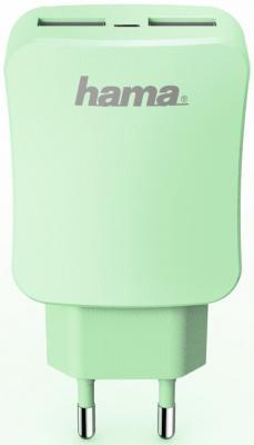 """Сетевое зарядное устройство HAMA """"Design Line"""" 2 х USB 3.4A зеленый 00178212"""