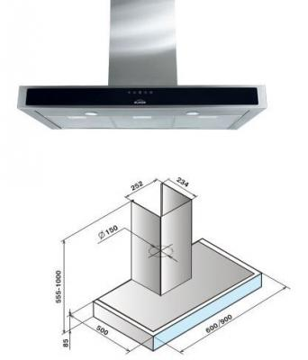 лучшая цена Вытяжка каминная Elikor Агат 90Н-1000-Е4Д нержавеющая сталь