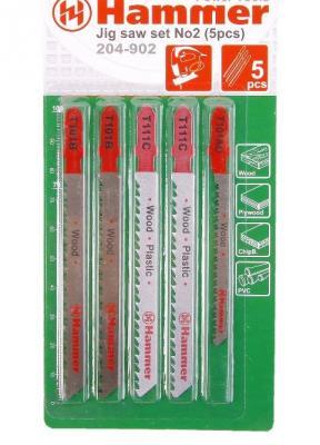 Лобзиковая пилка Hammer Flex 204-902 JG WD-PL set No2 дерево\\пластик 3 вида 5шт 30579 бур hammer 201 902 dr sds set no2 6pcs 5 6 8 x 110 6 8 10 x 160