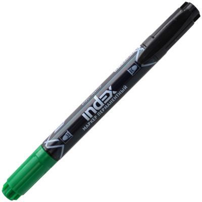 Маркер перманентный Index двуцветный, двусторонний 3 мм черный зеленый IMP101/BK-GN