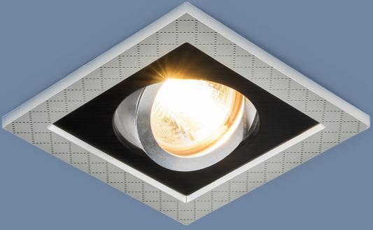 Встраиваемый светильник Elektrostandard 1041/1 MR16 SL/BK серебро/черный 4690389095429 elektrostandard точечный светильник с поворотным механизмом elektrostandard 1041 1 mr16 sl bk серебро черный 4690389095429