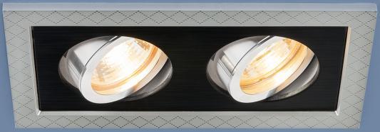 Встраиваемый светильник Elektrostandard 1041/2 MR16 SL/BK серебро/черный 4690389095443 elektrostandard точечный светильник с поворотным механизмом elektrostandard 1041 1 mr16 sl bk серебро черный 4690389095429
