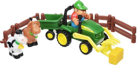 Трактор-погрузчик Tomy «Моя первая ферма» Набор с погрузчиком 43068 разноцветный машины tomy трактор john deere monster treads с большими резиновыми колесами