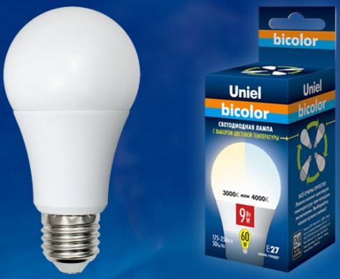 Лампа светодиодная (UL-00001569) E27 9W 4000K шар матовый LED-A60-9W/WW+NW/E27/FR PLB01WH uniel лампа светодиодная uniel диммируемая led a60 11w ww e27 fr dim plp01wh ul 00000687
