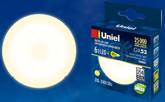 Лампа светодиодная (UL-00001670) GX53 6W 3000K таблетка матовая LED-GX53-6W/WW/GX53/FR PLZ01WH лампа светодиодная ul 00001669 gx53 6w 4000k таблетка матовая led gx53 6w nw gx53 fr plz01wh