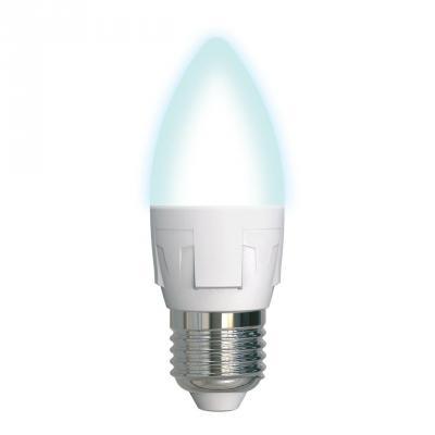 Лампа светодиодная свеча Uniel LED-C37 7W/NW/E27/FR PLP01WH E27 7W 4000K лампа светодиодная ul 00000767 e14 7w 4500k свеча матовая led c37 7w nw e14 fr plp01wh