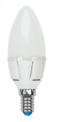 Лампа светодиодная свеча Uniel LED-C37 7W/WW/E14/FR PLP01WH E14 7W 3000K