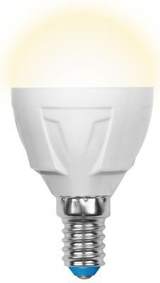 Лампа светодиодная (UL-00002419) E14 7W 3000K шар матовый LED-G45 7W/WW/E14/FR PLP01WH