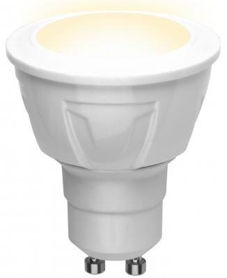 Лампа светодиодная (UL-00002423) GU10 6W 3000K полусфера матовая LED-JCDR 6W/WW/GU10/FR PLP01WH uniel лампа светодиодная диммируемая ul 00000696 gu5 3 5w 3000k полусфера матовая led jcdr 5w ww gu5 3 fr dim