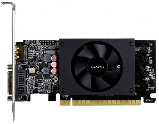 Видеокарта 2048Mb Gigabyte GT710 PCI-E GDDR5 64bit HDMI DVI GV-N710D5-2GL Retail видеокарта gigabyte geforce gt 710 954mhz pci e 2 0 2048mb 5010mhz 64 bit dvi hdmi hdcp low profile gv n710d5 2gl