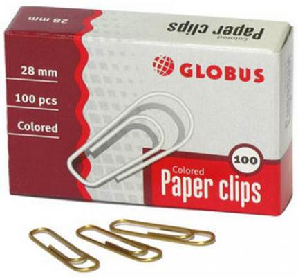 Скрепки Глобус С28-100З 100 шт 28 мм золотистый