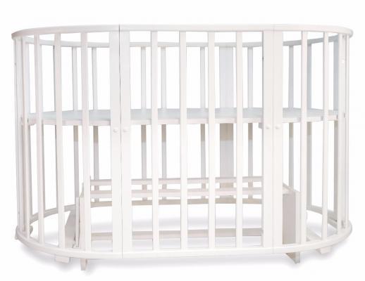 Кроватка-трансформер овальная 6-в-1 Valle Mimi  (белый)