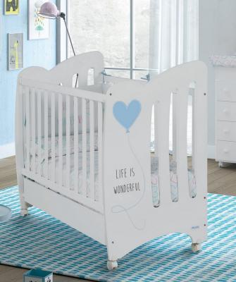 Купить Кроватка Micuna Wonderful (white/blue), белый, массив бука / МДФ, Кроватки без укачивания