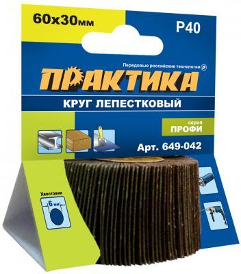 Круг лепестковый с оправкой Практика Профи 60х30мм P40 649-042