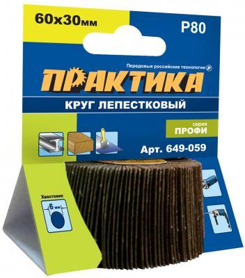 Круг лепестковый с оправкой Практика Профи 60х30мм P80 649-059