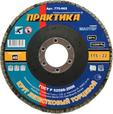 Круг лепестковый торцевой Практика 115мм Р40 775-662