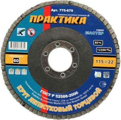 Круг лепестковый торцевой Практика 115мм Р60 775-679