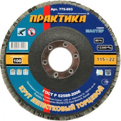 Круг лепестковый торцевой Практика 115мм Р100 775-693