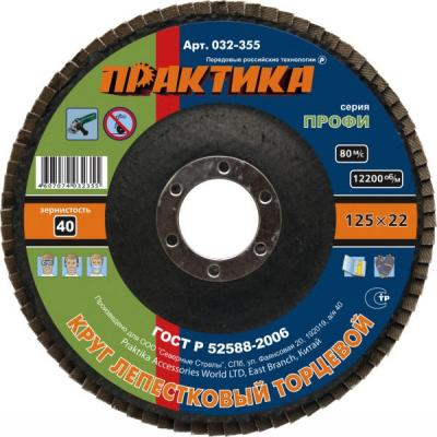 Круг лепестковый торцевой Практика 125мм Р40 032-355