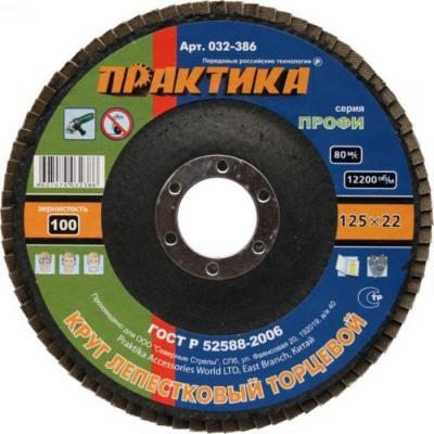 Круг лепестковый торцевой Практика 125мм Р100 032-386