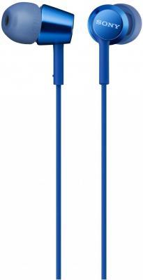 Гарнитура SONY MDR-EX155AP синий гарнитура беспроводная sony sbh70ru b bt3 0