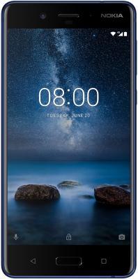 Смартфон NOKIA 8 синий 5.3 64 Гб LTE NFC Wi-Fi GPS 3G 11NB1L01A17 смартфон zte blade a510 серый 5 8 гб lte wi fi gps 3g