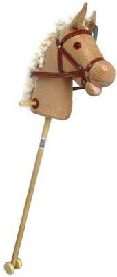 """Лошадка-скакалка Shantou Gepai """"Лошадка на палочке с колесиками"""" бежевый от 3 лет текстиль"""