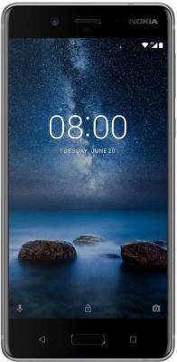 Смартфон NOKIA 8 стальной 5.3 64 Гб LTE NFC Wi-Fi GPS 3G 11NB1S01A09 смартфон zte blade a510 серый 5 8 гб lte wi fi gps 3g