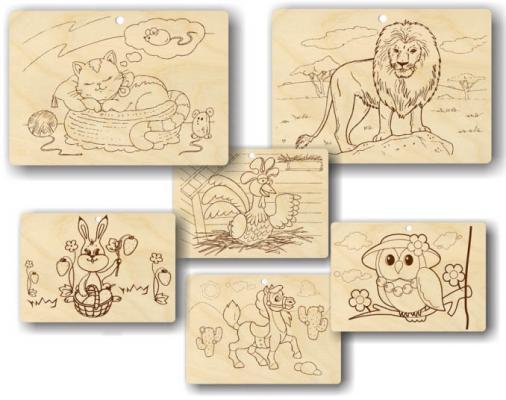 Набор для выжигания Пелси Животные, 3 картинки от 7 лет в ассортименте от 123.ru