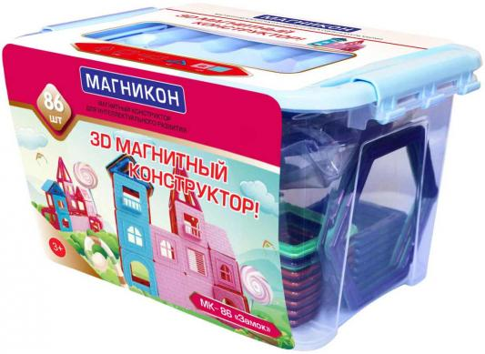 """Конструктор 3D Магникон """"Замок"""" 86 элементов магнитный конструктор магникон ралли 66 элементов"""