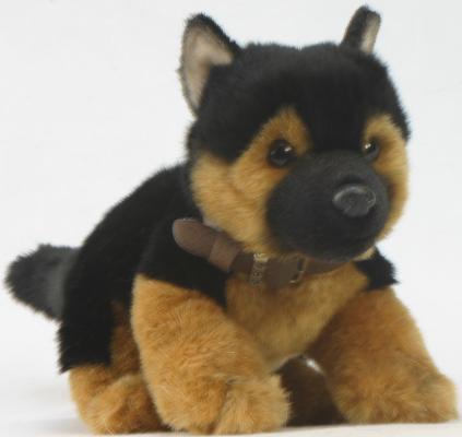 Мягкая игрушка щенок Hansa Щенок немецкой искусстенный мех черный коричнеый 25 см 3971