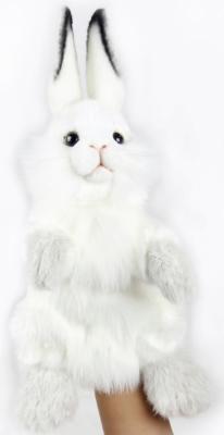 Купить Мягкая игрушка кролик Hansa Белый кролик, игрушка на руку 7156 искусственный мех текстиль пластик белый 34 см, искусственный мех, пластик, текстиль, Животные